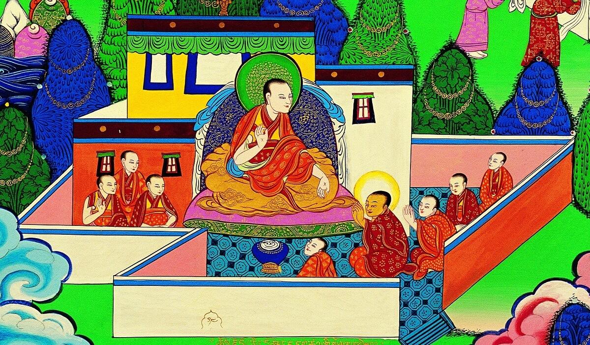 宗喀巴大師從小接受親教師敦珠法王的教導。圖片提供:GEBIS傳燈寺
